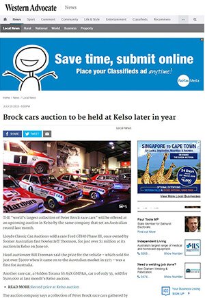 Click for Article on brock car auction to be held in kelso later in year