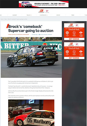 Click for Article on brocks comeback supercar going to auction