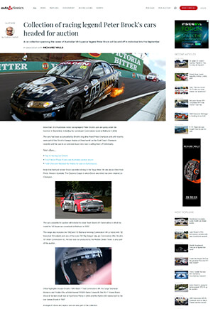 Click for Article oncollection of racing legend peter brocks cars headed to auction