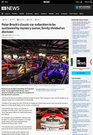 Click for Article on peter brocks classic car collection to be auctioned by mystery owner