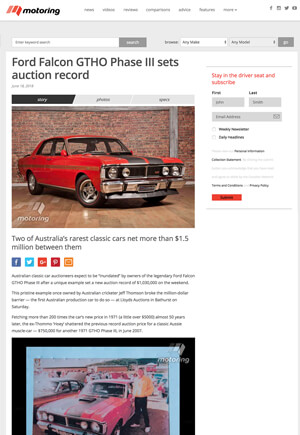 Click for Article on ford falcon gtho phase 3 sets auction record