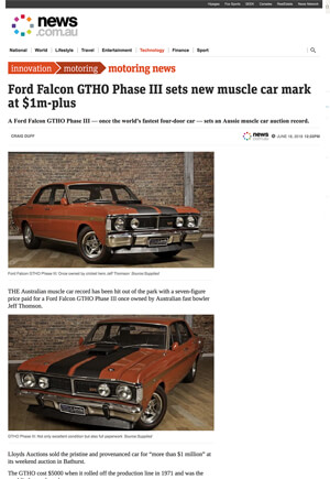 Click for Article onfor falcon gtho sets new muscle-car mar at $1 million dollars
