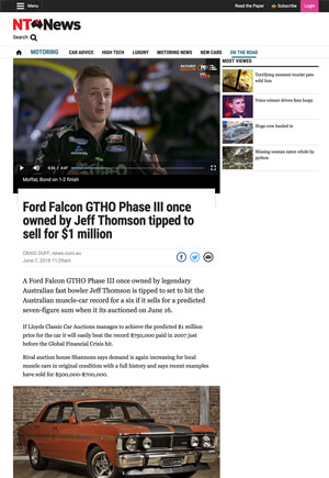 Click for Article on ford falcon gtho phase 3 once owned by jeff thomson tipped to sell for $1 million dollars