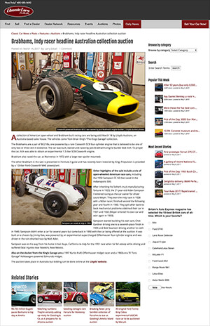 Click for Article on brabhams, indy racer headline australian collection