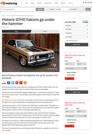 Click for Article on hostoric gtho falcons go under the hammer