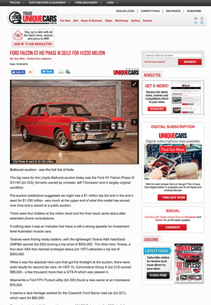 Click for Article on ford falcon gtho phase 3 sells for $1.03 million dollars
