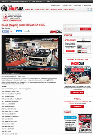 Click for Article on holden torana a9x number 1 sets auction record