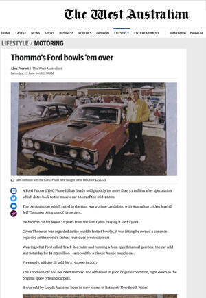 Click for Article on thommo's ford bowles 'em over