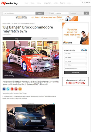 Click for Article on big banger brock commodore may fetch $2 million dollars