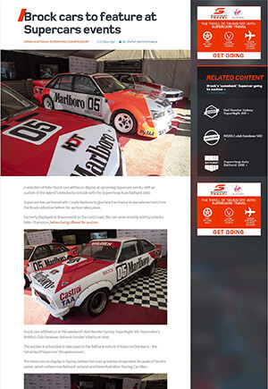 Click for Article on brock cars to feature at supercars events