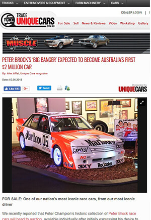 Click for Article onpeter brock's big bnager expected to become australia first $2 million dollar car