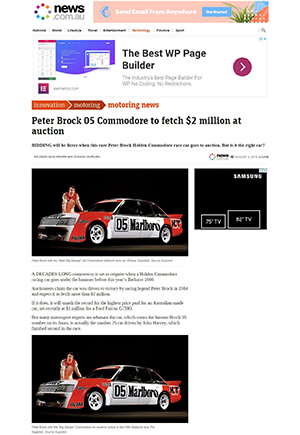 Click for Article on peter brock 05 commodore to fetch $2 million dollars at auction