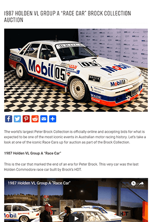 Click for Article on 1987 holden vl group a race car brock collection auction