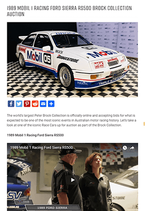 Click for Article on 1989 mobil 1 racing ford sierra rs500 brock collection auction