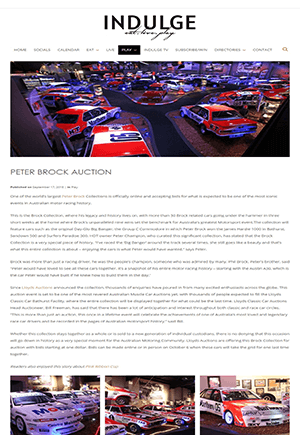 Click for Article on peter brock auction