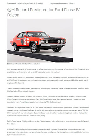 Click for Article on $3 million record predicted for ford phase 4 falcon