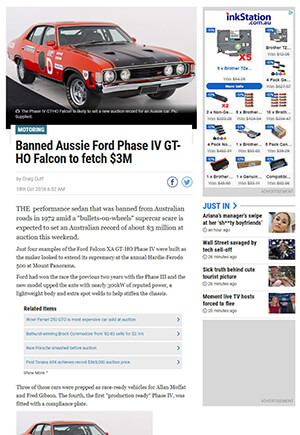 Click for Article on banned aussie ford phase 4 falcon to fetch $3 million