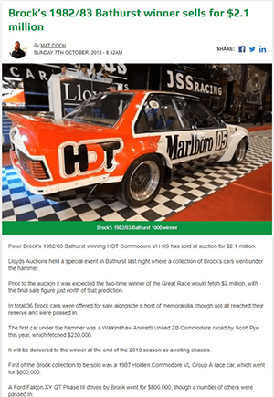 Click for Article on brock's 1982/83 bathurst winner sells for $2.1 million dollars