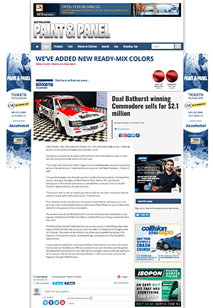 Click for Article on dual bathurst winning commodore sells for $2.1 million dollars