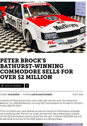 Click for Article on peter brock's bathurst winning commodore sells for over $2 million dollars