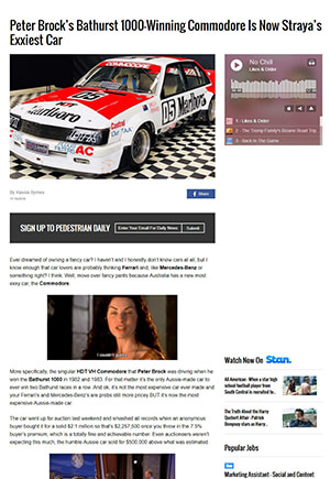 Click for Article on peter brock's bathurst winning commodore is now australia's exxiest car