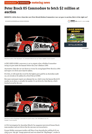 Click for Article on peter brock 05 commodore to fetch $2 million at auction