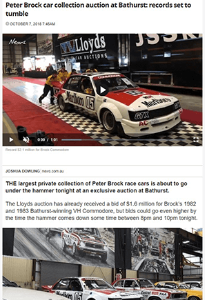 Click for Article on  records set to tumble at peter brock car collection auction at bathurst