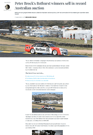 Click for Article on Peter Brock's bathurst winners sell in record australian auction