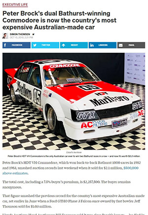 Click for Article on peter brock's dual bathurst winning commodore is now countrys most expensive car