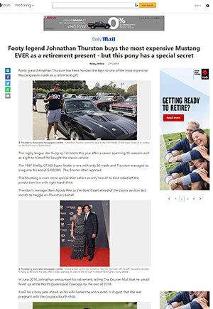 Click for Article on Footy legend Jonathan Thurston buys the most expensive mustang ever