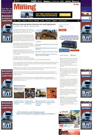 Click for Article on Mining ramp-up ignites bonanza for used equipment